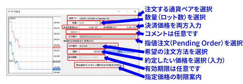 注文画面からIFO注文(指値/逆指値注文)をする