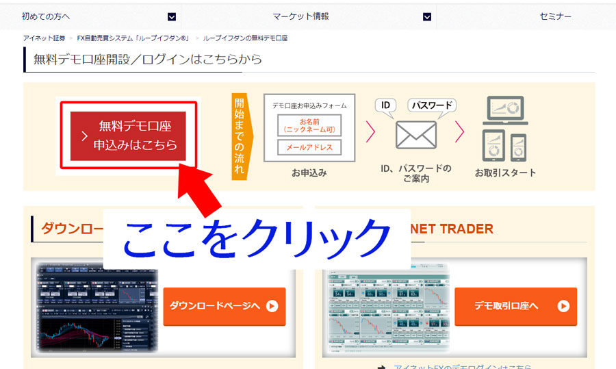 アイネット証券・ループイフダンのトップページからデモ口座申請ページへ移動する